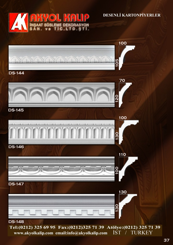desenli kartonpiyer, desenli alçı kalıbı, desenli polyester kalıp, desenli köşe profili profilleri, desenli modeller, desenli kalıp